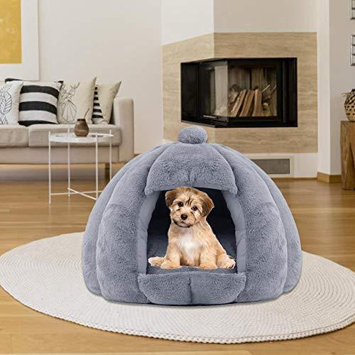 Katzenhöhle Hundebett Hundekörbchen - Perfekte Kuschelhöhle für Kleine Hunde & Katzen - Rutschfestes Warmes, Halbgeschlossenes Plüsch-Warmbett für Herbst und Winter