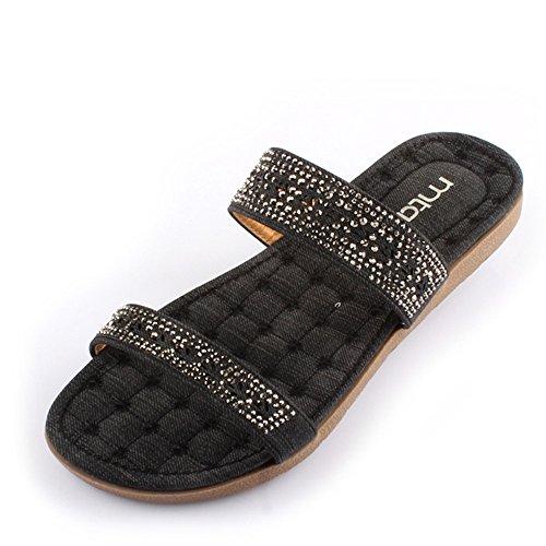 Donne sandali Pantofole di primavera e estate adatta i sandali casuali dei sandali Scarpe da spiaggia Black / Blue Confortevole ( Colore : Blu , dimensioni : EU36/UK4/CN36 ) Nero