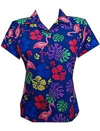 Hawaiian Shirt Women Flamingo Leaf Print Aloha Beach Blouse