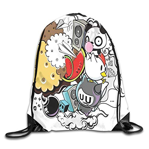 Crazy Cat Lady Shorts (New Shorts Animal and Food Themed Composition Crazy Festive Doodle Panda Bird Cat Watermelon Drawstring Backpack Rucksack Shoulder Bags Sport Gym Bag for Men and Women)