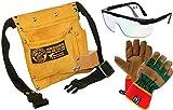 Corvus Kinder-Werkzeug-Set mit Werkzeuggütel klein, Arbeitshandschuhe Kunstleder GR. 7 und Schutzbrille 3er Set