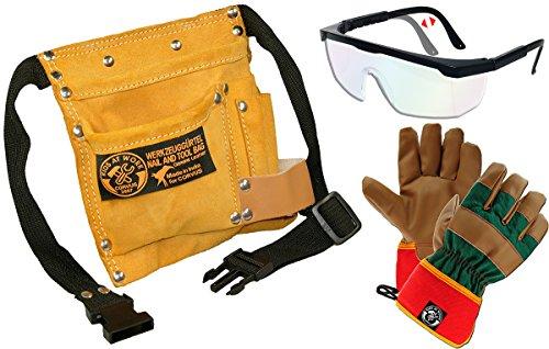 Corvus Kinder-Werkzeug-Set mit Werkzeuggütel klein, Arbeitshandschuhe Kunstleder GR. 7 und...