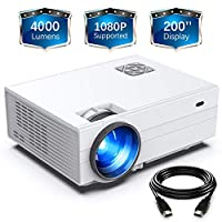 """FunLites Projector, HD 4000 Lux Video Projector with 200"""" Display 60,000 Hrs Led Home Theater Projector Support 1080P,Compatible with Fire TV Stick,PS4, HDMI, VGA, AV and USB…"""