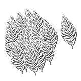 Fenteer 100pcs Schwarz/Weiß Kunstblätter Rosenblätter Dekoblätter Streublätter, DIY für Haus und Büro, Silber/Gold - Silber