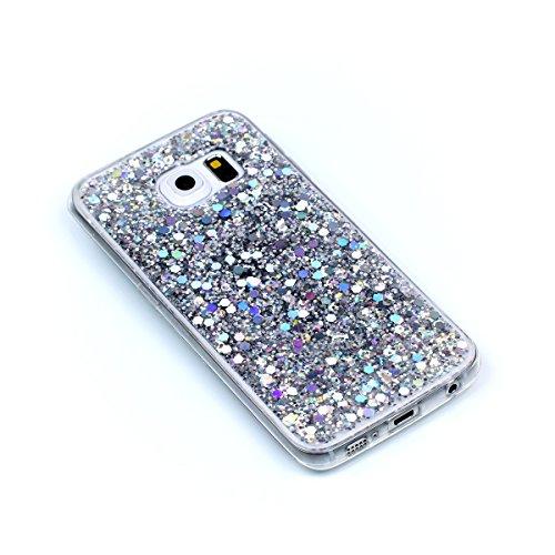 Galaxy S6 Edge Custodia, Cover per Samsung Galaxy S6 Edge, Per Samsung Galaxy S6 Edge G925 Custodia Silicone, JAWSEU Moda Stile Lusso Cristallo di Bling Brillante Sparkle Glitter Custodia per Samsung  Bling Argento