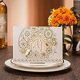 Jindowine VStoy Taglio Laser Inviti di Nozze,Hollow Pizzo Flora Inviti Cards,Cartoncino per Wedding Marriage di (20pcs) (d'oro)
