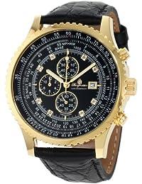 Burgmeister Burgmeister - Reloj de caballero de cuarzo, correa de piel color negro (con cronómetro)