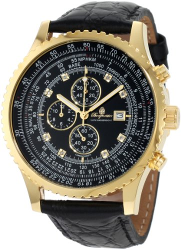 Burgmeister Savannah Bm320-222 Gents Chronograph  Gold Black Leather Strap Black Dial Crystals Date Day Month