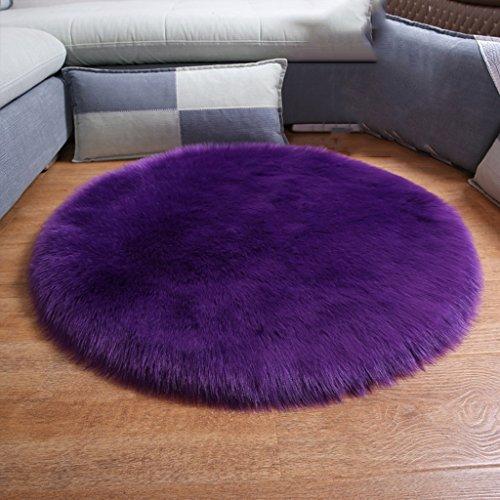 Runder Teppich Schlafzimmer Couchtisch Wohnzimmer Computer Stuhl Korb Imitation Wolle Mat (Farbe : Purple, größe : 50cm)