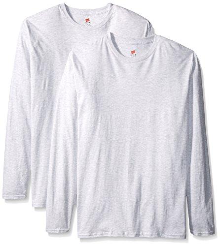 Hanes Maglietta a maniche lunghe maglietta Premium (confezione da 2) Ash