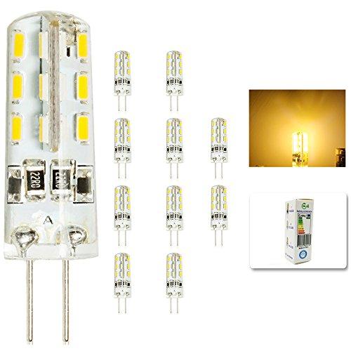 10 Stück G4 LED Lamper 2 Watt 12V DC Warmweiß aus Silikon (Silica Gel) Lampe Leuchte Leuchtmittel 200LM