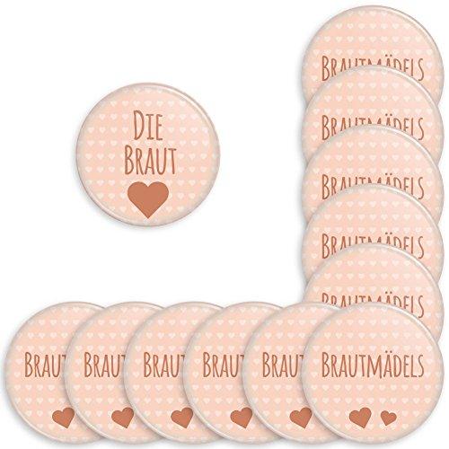 Werbewas 12er Set runde Buttons für feierliche Anlässe - Hochzeit - Junggesellenabschied / JGA Party - Trauung (38mm) Motiv Brautmädels - apricot mit Nadel-Anstecker