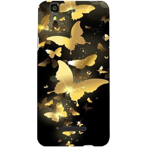 Casotec Golden Butterfly Pattern Design Hard Back Case Cover for Micromax Yu Yureka AQ5510 / AO5510