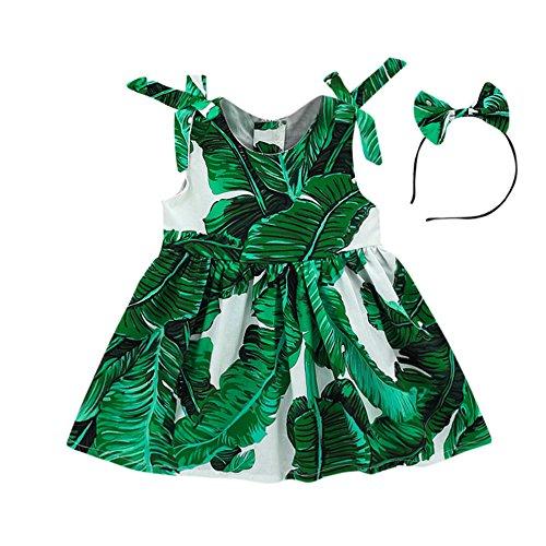 JUTOO Kleinkind Baby Mädchen Blätter Print Kleid Riemen Party Stirnband Strandkleid Sommerkleid (Grün,90)