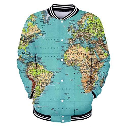 Theme 3D Weltkarte Gedruckte Strickjacke Full Taste Strickjacke - Uniform Pullover Jacke - Geeignet Für Männer Und Frauen Shield Mini-taste