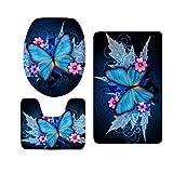 Baoblaze 3 stück Schmetterling Serie Badematte Rutschfester Badvorleger Badteppich aus Flanell - Schmetterling 5