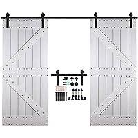 CCJH 10FT-305cm Herraje para Puertas Kit de Accesorios para Puerta Correderas Juego de Armarios de Acero Corredizos para Puertas Corredera Riel Rueda para Puertas de Madera Dobles