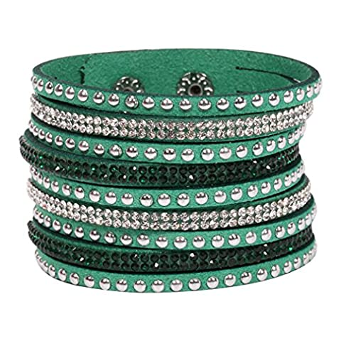 CELENIDE® BRACELET de Manchette Multi-rangs pour Femme Couleur Vert BANGLE WRAP STRASS FASHION FILLE TENDANCE …