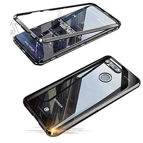 Jonwelsy Huawei Honor V20 Hülle, Stark Magnetische Adsorption Technologie Metallrahmen, Transparent Gehärtetes Glas Rückseite Handyhülle für Huawei Honor View 20 (6,4 Zoll)