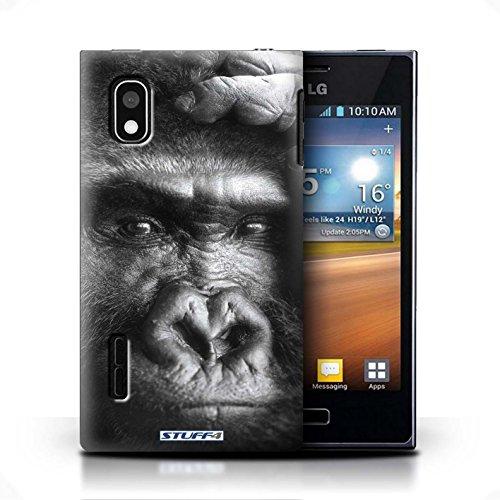 KOBALT® Hülle Case für LG Optimus L5/E610 | Krokkodil/Alligator Entwurf | Wilde Tiere Kollektion Gorilla / Affe