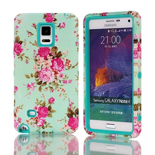 Galaxy Note 4 Hülle, FIREFISH [Slim Fit] Weiche Silikon-und Hard-PC Hybrid-Cover [Shock Proof] Anti-Kratzschutz-Fall für Samsung Galaxy Note 4 Grün