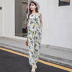 GAOLIM Dos Piezas De Algodón Pantalones Florales Vest Mujer Modelos De Verano Beach Resort Playa Palo, M, 735 Palo Blanco Pantalón Piña + Chaleco