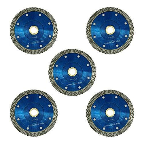 Hoja de sierra de diamante de borde de malla fino de 4.5 pulgadas a 7/8 pulgadas para cortar azulejos y mármol/cuarzo (5 por paquete)