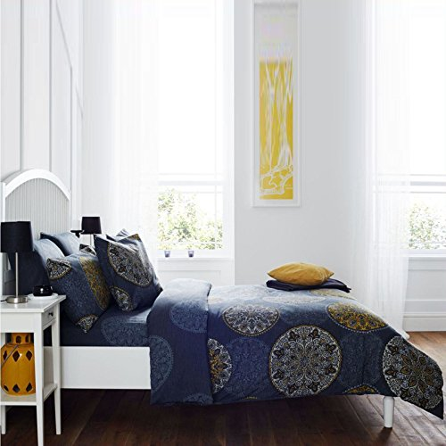 DUVET COVER & PILLOW CASES QUILT COVER BEDDING SET PRINTED FLORAL POLY COTTON[Circle Dark Blue,Double]