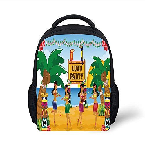 Tiki Bar Decor,Hawaiian Luau Party in Cartoon Style Dancers on Beach Festive Tradition Decorative,Multicolor Plain Bookbag Travel Daypack ()