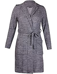 Womens Plus Size Long Sleeve Ladies Belted Knitted Wrap Jacket Coat Cardigan Top