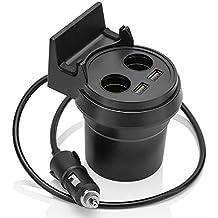 MidGard Becherhalter Auto KFZ-Ladegerät / Verteiler für Getränkehalter mit 2 x USB-Anschlüsse, 2 x Zigarettenanzünder-Buchsen und Handyablage / Handyhalterung