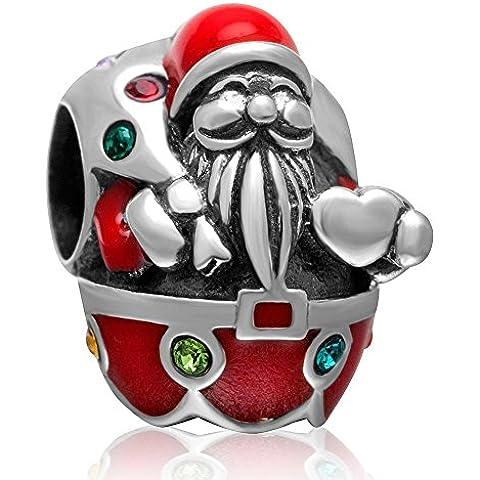 Soulbead Babbo Natale con Babbo Natale regalo in argento Sterling 925con perline, con cristalli colorati braccialetti per Natale regalo