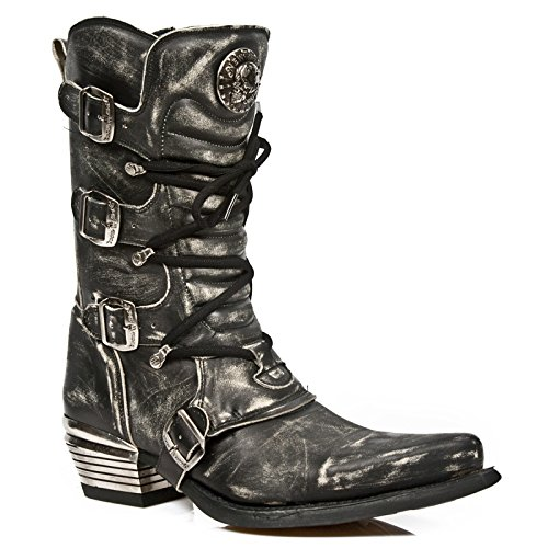 New Rock Herren Grau Dallas Leder Stiefel M.7993-S3 (Jones Indiana Stiefel)