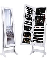 LANGRIA Espejo Joyero, Armario para Joyas, Lacado Blanco y Terciopelo Negro Interior, Regalo Ideal para la Navidad (Con 2 Cajones)