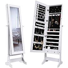 LANGRIA Armadio Specchio Portagioie Gioielli a Chiave Stand Bloccabile con 2 Cajones con Specchio Armoire Organizer Bianco …