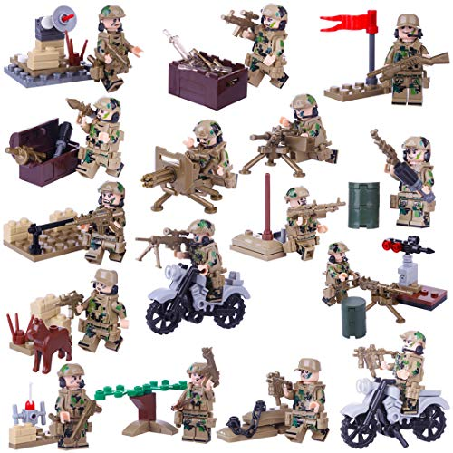 MAJOZ 16 Military Pieces Mini Personalized Figures - SWAT Team Police Figures Building Block for Children and Adults