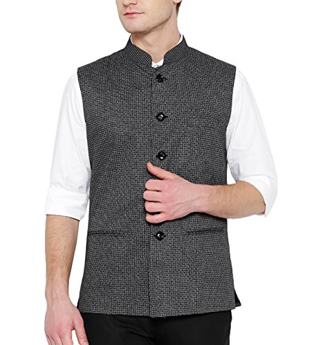 Shaftesbury London Men's Cotton Nehru Jacket (H2194--42, Grey, 42)