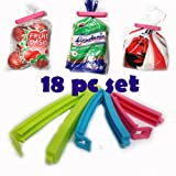#8: 18Pc 3 Different Size Plastic Food Snack Bag Pouch Clip Sealer for Keeping Food Fresh for Home Kitchen Camping (Multi Color)