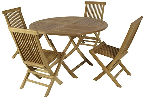 Set Teakholz mit 4Stühle und Tisch rund 120cmØ