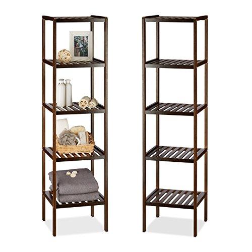 2 x Bambusregal mit 5 Ablageflächen, hohes Standregal, Holzregal für Küche, Flur und Bad, dunkelbraun