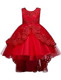 7559cced421 IWEMEK Enfants Fille Robe de Princesse Longue en Dentelle avec Bowknot  Demoiselle d honneur sans