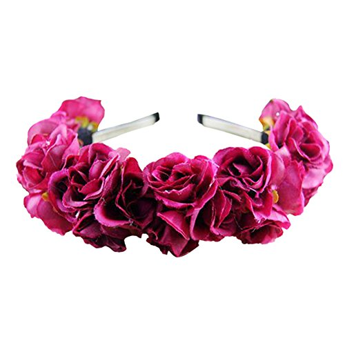 ROPALIA Wedding Multi-Color Double Row Floral Hairband Fabric Rose Flower Crown