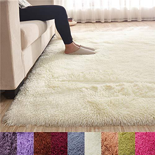 blue page Tatami Farbe Rechteck Flauschig Shaggy Fußmatte, Teppich Dicker Fußmatte für Home Living Nachttisch Kinder Kriechen Bereich Teppich grün 139,7cm X79, Cremefarben, 63 x 102 inch