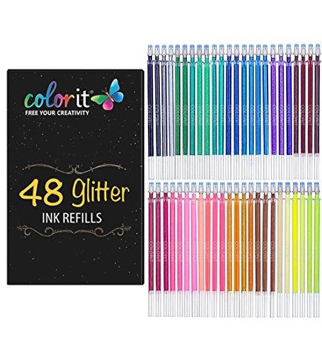 Color Glitter Gel pluma de tinta recargas