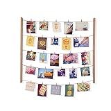 Umbra Hangit Fotowand – Collagenbilderrahmen mit Drahtgarn und Mini Wäscheklammern zum Aufhängen von Fotos, Bildern, Postkarten und Kunst, Holz/Natur