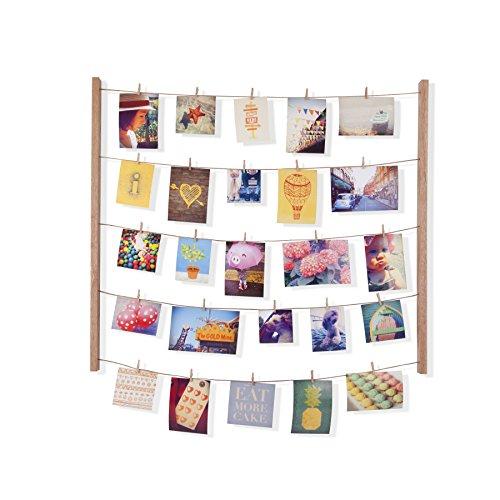 d - Collagenbilderrahmen mit Drahtgarn und Mini Wäscheklammern zum Aufhängen von Fotos, Bildern, Postkarten und Kunst, Holz/Natur ()