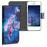 kwmobile Apple iPhone SE / 5 / 5S Hülle - Kunstleder Wallet Case für Apple iPhone SE / 5 / 5S mit Kartenfächern und Stand - G