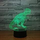 Lampada da tavolo a LED a forma di dinosauro 3D visiva divertente LED Lampada da tavolo colorata a LED come regali per giocattoli per bambini e camerette