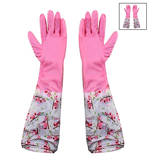 HOKIPO® Reusable PVC Flocklined Hand Gloves for Kitchen, Free Size