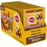 Pedigree Meat Jerky Adult  Dog Treat, Grilled Liver, 12 Packs (12 x 80g)